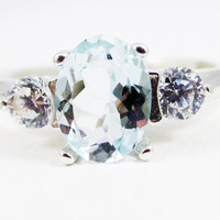 Aquamarine Oval and CZ Accent Ring, 925 Sterling Silver, March Birthstone Ring, Oval Aquamarine Accent Ring, Three Stone Ring
