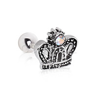 316L Surgical Steel Crown with CZ Cartilage Earring