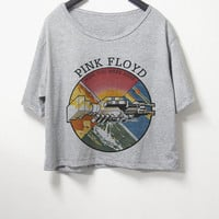 Pink floyd,crop top, grey color, women crop shirt, screenprint tshirt, graphic tee