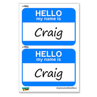 Craig Hello My Name Is - Sheet of 2 Stickers