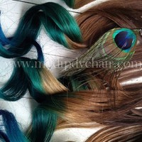 Peacock Feather Hair Extensions//Peacock Ombre//Peacock DipDye//Remy