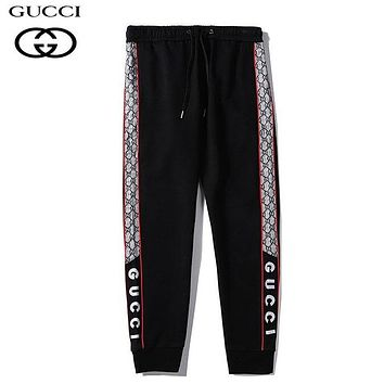 GUCCI New fashion more letter sports leisure pants Black