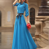 Women Floor-Long A-Line Slim Maxi Dress
