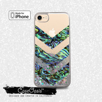 Abalone Shell Chevron Green Blue Tumblr Liquid Glitter Sparkle Case for iPhone 6 and 6s iPhone 6 Plus and 6s Plus iPhone 7 and iPhone 7 Plus
