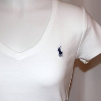 NEW POLO RALPH LAUREN WOMENS WHITE V NECK T SHIRT