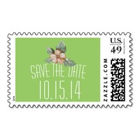 Vintage Flower Green Save The Date Wedding Stamps