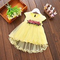 Infant Kids Baby Girl clothes Summer Floral print Geometry round neck sleeveless cotton casual Princess Party Dresses one pieces