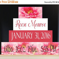 ON SALE Personalized Birth Stats Flower Wood Block Set, Flower Birth Announcement, Pink Nursery Decor, Birth Information, Blocks for Baby's