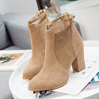 On Sale Hot Deal Winter Korean Pointed Toe High Heel Zippers Boots [11962822799]