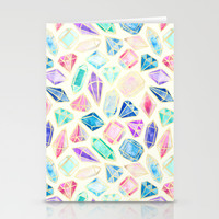 Watercolor Gems Intense Stationery Cards by Tangerine-Tane | Society6