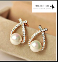 Pair of Gorgeous Faux Pearl Embellished Diamante Cross Design Earrings