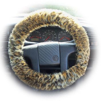 Baby Leopard cub car steering wheel cover fluffy and furry