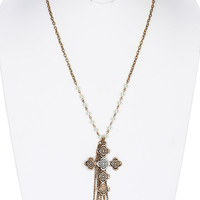 NECKLACE / CROSS PENDANT / CHAIN TASSEL / AGED FINISH METAL / HAMMERED / FLORAL PATTERN / TWO TONES / WHITE PEARL / GLASS BEADS / LINK / CHAIN / 30 INCH LONG / 4 1/4 INCH DROP / NICKLE AND LEAD COMPLIANT