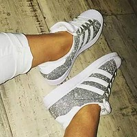 Adidas Superstar Women Shiny Shell-toe Flats Sneakers Sport Shoes
