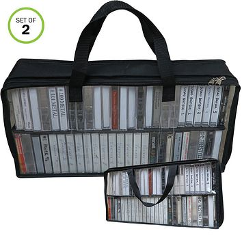 Evelots Cassette Tape Bag-Organizer/Storage-Easy Carry-No Dust/Moisture-Hold 100
