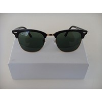 New Rayban Clubmaster Sunglasses 3016 Black with Gold and Green Lens W0365
