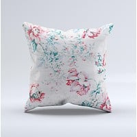 Coral Blue Grunge Watercolor Floral Ink-Fuzed Decorative Throw Pillow