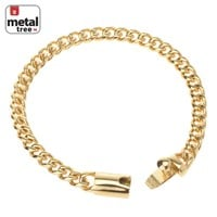 """Jewelry Kay style Men's Hip Hop 14k Gold Plated 7 mm Stainless Steel Cuban Chain Bracelet 9"""""""