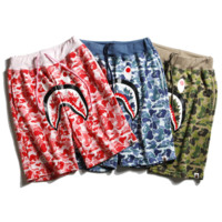 Bape Aape New style fashion camouflage shark casual shorts for men and women three color