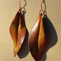 LARGE, copper leaf earrings with beautiful patina