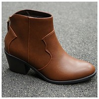 SPECIAL!  Adorable Flat Block Heel Tan Bootie Boot