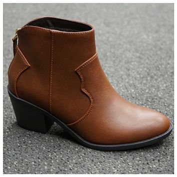 Adorable Flat Block Heel Tan Bootie Boot