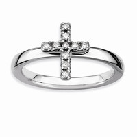 Sterling Silver Stackable Expressions Cross Diamond Ring: RingSize: 7