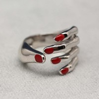 Hippie style Silver Protective Hand Adjustable Ring