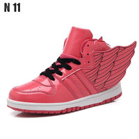 New 2016 Spring Autumn Ankle Boots Heels Shoes Women Casual Shoes Women Wings Flats Ladies Footwear Lace Up Shoes Size 35-40
