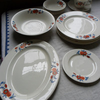 1940s Dinnerware Set Red Blue Jadite White 13 Pieces Unmarked Floral from Amelie's Farmhouse 1940s Dinnerware