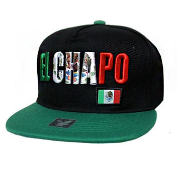 + El Chapo Embossed Fashion Snap Back In Black Green