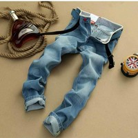 Men Men's Fashion Summer Denim Pants Slim Korean Jeans [6528600387]
