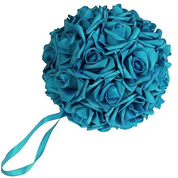 Soft Touch Flower Kissing Balls Wedding Centerpiece, 7-inch, Turquoise
