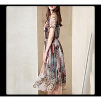 Natural Silk Print Summer Fall Dress