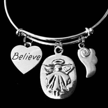 Believe Always With You Guardian Angel Jewelry Silver Expandable Charm Bracelet Adjustable Wire Bangle Angel Wings One Size Fits All Gift