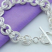 womens 925 sterling silver bracelet silver plated fashion jewelry (Color: Silver) = 1946486340