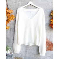 Final Sale - Somedays Lovin - Heartbreaker Fuzzy Eyelash Jumper Sweater in Ivory