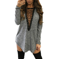 Women Dress Sexy Long Sleeve Bandage Lace Up V Neck Long Sleeve Loose Casual Mini Dress Vestidos Plus Size 4 Colors GV562