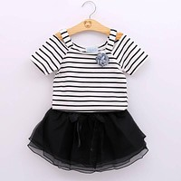 Baby Clothing Sets Girls Clothes Stripe T Shirt + Dress Suits Baby Girls Set Children Clothing