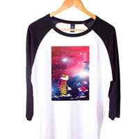 Calvin and hobbes Short Sleeve Raglan - White Red - White Blue - White Black XS, S, M, L, XL, AND 2XL*AD*