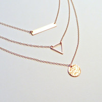 Rose Gold Bar Layered Necklace Set of 3 Hammered Disc Triangle Necklace Personalized Necklace Rose Gold Necklace