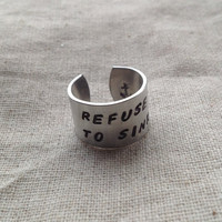 Refuse to Sink - Hand Stamped Aluminum Ring