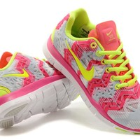 """Nike Free 5.0 TR Fit 3"" Women Sport Casual Bird's Nest Wave Stripe Print Breathable Barefoot Sneakers Running Shoes"