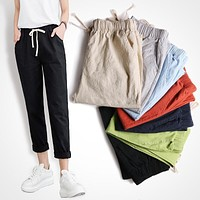 Cotton and linen ankle-length pants women spring summer thin section straight loose casual pants washed pants Slim pencil pants