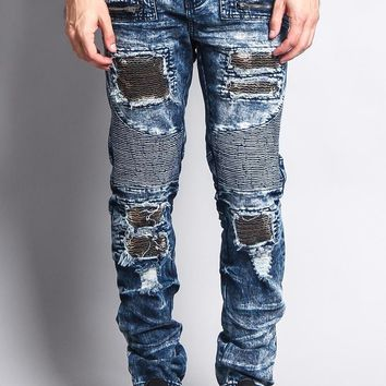 Stain Washed Contrast Patching Twill Biker Jeans
