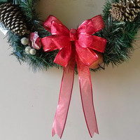 Red Shimmer Christmas Bow- Red Gift Bow-Red Sparkle Bow- Wreath Stair Rail Door Mailbox Tree Topper Decoration