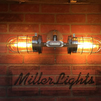 Industrial vanity light, Double Head cage wall light, modern Bathroom lighting, exposed conduit sconce light