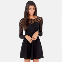 Black Dotted Lace Keyhole Back A-Line Long-Sleeve Dress