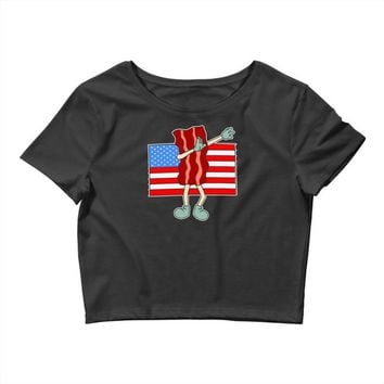 bacon american flag dab Crop Top