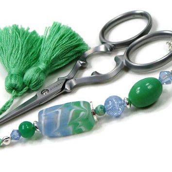 Beaded Scissor Fob, DIY Crafts, Cross Stitch, Needlepoint ,Sewing, Quilting, Gift, Mint Green, Ice Blue, TJBdesigns